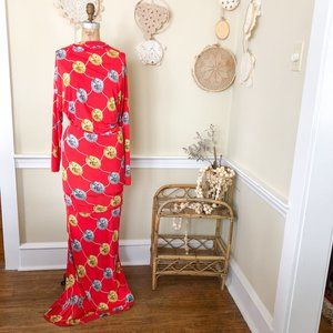 Red Bold Coin Print Sexy Full length Maxi Dress S